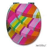 WOLTU WS2348-1 WC Sitz Toilettendeckel, MDF-Holzkern, aus Zink verchromt Scharniere, WC Deckel Toilettenbrille (hemp love)