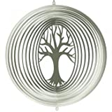 Edelstahl Windspiel - LEBENSBAUM 300 - lichtreflektierend - Durchmesser: 27.5cm - inkl. Aufhängung