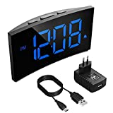 Digitaler Wecker, PICTEK Digitaluhr, 5' LED-Display, Randlos Kurve, Dimmer, Snooze, 12/24...