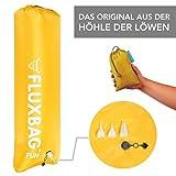 FLUXBAG Original aus der HÖHLE DER LÖWEN: 3-in-1: extrem schnelle LUFTPUMPE für Luftmatratze & Co. + XXL PACKSACK + STRANDKISSEN