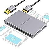 SD kartenleser 5 in 1 USB 3.0, Aluminiumlegierung mit USB Kabel für SD, Micro SD, SDXC, SDHC, Micro...