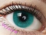 Farbige Kontaktlinsen 3 Monatslinsen hellblau türkis 'Turquoise' gute Deckkraft ohne Stärke mit Aufbewahrungsbehälter