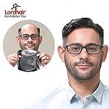 Lordhair echtes Menschenhaar Toupee, mit super dünne Haut für Männer Haarfarbe Schwarz 1B # Herren Perücke Toupet