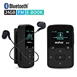 Mymahdi Sport Music Clip,24 GB Bluetooth MP3 Player with FM Radio Voice Record Function,Black with LCD Screen and MicroSDHC Card Slot,Sweatproof Silicone Case,Support up to 128 GB