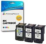 3 Druckerpatronen für Canon Pixma iP2700 MP230 MP240 MP250 MP252 MP260 MP270 MP272 MP280 MP480 MP490 MP492 MP495 MX320 MX340 MX350 MX360 MX410 MX420   kompatibel zu PG-510 (PG510) CL-511 (CL511)