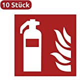 10 Feuerlöscher Aufkleber - Aufkleber Feuerlöscher (10 Stück) vorgestanzt für Innen & Außen mit UV Schutz, witterungsbeständig, selbstklebend, Feuerlöscher Schild überkleben, Sicherheitskennzeichen - Feuerlöscher Zubehör - Warnzeichen-Feuerlöscher / Feuerlöscher-Brandschutzzeichen Aufkleber von Aufklebo 7010
