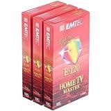 EMTEC VHS-Kassette Home TV Master 120 P3 im 3er-Pack, je 120 Minuten