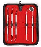 5er Dental Set Zahnreinigung Zahnsteinentferner Sonde Zahnpflege Edelstahl Instrument Zahnsteinkratzer hochwertige Qualität von MedTekCo lebenslange Garantie