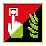 Brandmelder Brandschutzzeichen 200x200mm - lang nachleuchtend - Folienschild selbstklebend - gem. ASR 1.3, DIN ISO 7010 (F005)