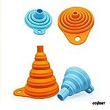 Collory Trichter-Set faltbar aus Silikon für Küche und Haushalt (2er-Set) | Öl-Trichter | Mini Silikon-Trichter | Einfüllhilfe | Trichter-Satz | Zusammenklappbar | (2er-Set: Orange+Blau (groß+klein)