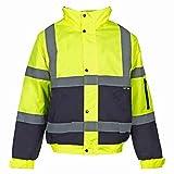 Hi Viz - Herren Männer Bomber Jacke Zweifärbig Reflektierendes Band Wasserfeste Gesteppte Sicherheits Arbeitsjacke