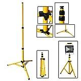 VINGO Teleskop Stativ für Baustrahler LED Halogen Strahler Fluter Scheinwerfer Gelb Stahlstativ Arbeitslampe 1 Stück