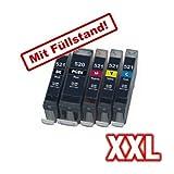 5x kompatibler Tintenpatronen für Canon IP3600 IP4600 IP4700 MP540 MP550 MP560 MP620 MP630 MP640 MP980 MP990 MX860 MX870 X PGI520 CLI521 - Sparset