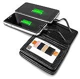 Powerbank 4000 mAh mit Kartenetui Echtleder RFID und NFC Schutz Ladegerät externer Akku Power Bank | für Iphone und Android | Genuine Leather Slim Smart Design Power Bank Wallet | EC-Karten Geldbörse-Führerschein-Ausweis-hülle mit Power Bank | IOS und Android Kabele |