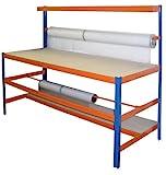 Profi-Verpackungsstation 1, HxBxT: 150x180x70 cm, 300 KG/Holzboden, blau/orange (Packtisch Rollenhalter Arbeitstisch Werktisch)
