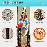 Idealeben Fliegengitter mit Magnetvorhang für Türen 1,1m x 2,2m, durchsichtig, Schwarz