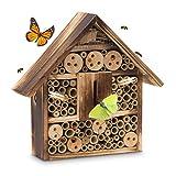 Relaxdays Insektenhotel gebrannt HBT 28,5 x 30 x 9 cm Bienenhotel aus Naturmaterialien als Unterschlupf für Käfer, Bienen und andere Insekten Insektenhaus aus Holz mit Spitzdach, natur