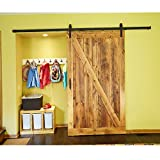 hahaemall 5 ft/152,4 cm Black Country Barn Holz Stahl Schiebetür Single Hardware Closet Set