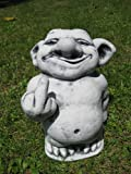 Frecher Troll mit Stinkefinger Mittelfinger Gnom Wichtel Gartenfigur Stein Frostfest