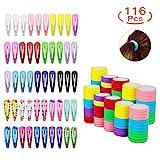 HBselect 50 Stück mehrgarbige Haarspangen mit verschiedene Farben und Mustern und 66 Stück elastische Haargummi aus Baumwolle Pferdeschwanz Halter für Damen und Mädchen