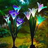 Solarleuchte Garten, Snner 2 Packung Solar Garten Lampen Lilie Blumen Solarlicht mit Farbwechsel LED Lampen, Außen Dekoration Lichter für den Garten/Rasen/Feld/Terrasse/Weg