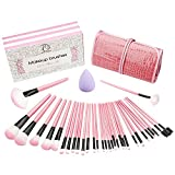 Make up Pinsel set 32+1 - teiliges Schmink Pinselset mit Etui Kosmetik Lidschatten Gesichtspinsel Miracle Make-up Schwamm luxuriös stilvoll Geschenkschachtel Rosa