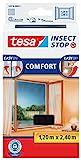 tesa Insect Stop COMFORT Fliegengitter für bodentiefe Fenster / Insektenschutz mit selbstklebendem Klettband in Anthrazit / 120 cm x 240 cm