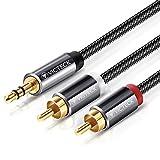 Cinch Kabel,Victeck 3,5mm Klinke auf 2 cinch Y Splitter Stereo Audio Kabel, 2M Nylon Geflochten...