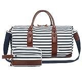 Oflamn Groß Reisetasche Damen Weekender Herren Segeltuch Handgepäck mit Schuhfach, Toiletbag Einschließen (1.0 Block Streifen Satz)