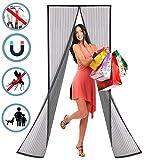 WISKEO Fliegengitter Tür Magnet Insektenschutz, Magnetvorhang Klebemontage Ohne Bohren, Moskitonetz Magnetverschluss, Verschiedene Größen, Wohnzimmer Balkontür