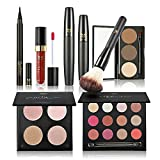 Anself 7St Make-up Set Schmink Set Ink. Matte Powder, Eye Shadow, Augenbrauenpuder, Lip Gloss, Pinsel, Wimperntusche und Eyeliner Pen