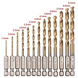hiyi 13 Teile HSS High Speed Stahl Titan beschichtet Twist-Bohrer Bit-Set 1/4 Sechskantschaft 1.5- 6,5 mm Power Tools