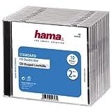 Hama CD-Doppel-Leerhülle (Standard, CD-Hüllen) 10er-Pack, transparent/schwarz
