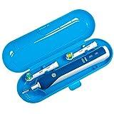 Nincha Elektrische Zahnbürsten-Etui Reise-Etui für Braun Oral b Elektrische Zahnbürste Serie Kunststoff Ersatz Etui für 1 Handstück und 2 Aufsteckbürsten (blau)