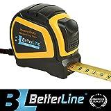Maßband für Schwereinsatz von BetterLine 25 Fuß mal 1 Zoll (7,5 Meter x 2,5 cm) / Nylon beschichtetes stabiles mattes Band / Auto-Sperr-Mechanismus / Gürtelclip & Gurt / Meter & Zoll