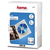 Hama Slim 00083890 DVD-Hülle (extra schmal, mit Folie zum Einstecken des Covers, geeignet für CDs...