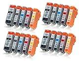 20 Druckerpatronen mit Chip und Füllstandsanzeige kompatibel zu Canon PGI-520 / CLI-521 (4x Schwarz, 4x Photoschwarz, 4x Cyan, 4x Magenta, 4x Gelb) passend für Canon Pixma IP-3600 IP-4600 IP-4600-X IP-4700 MP-540 MP-550 MP-560 MP-620 MP-630 MP-640 MP-640-R MP-980 MP-990 MX-860 MX-870