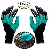 Opard Gartenhandschuhe 2-Paar Wasserdichte Garten Handschuhe Beide Hände mit Klauen zum Graben, Ausbreiten von Böden, Eggen, Rozen zu Beschneiden (2-Pack Freie Größe)