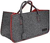 dunedesign XXL Filztasche 50x25x25cm Filzkorb 25KG Kaminholzkorb Kaminholz-Tasche Einkaufskorb Filz Shopper Grau Rot