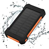 FLOUREON Solar Ladegerät Power Bank 10000mAh Akku Batterie Outdoor Wasserdicht mit Dual USB LED Taschenlampe für iPhone iPad Android-Handy Tablet Smartphones usw (Orange)