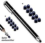 Premium Touchstift schwarz mit 20 x Ersatzspitzen Eingabestift Stylus Touch Pen