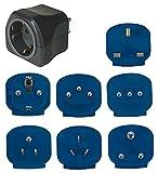 Brennenstuhl Reisestecker-Set, Steckdosenadapter (mit verschiedenen Aufsätzen für mehr als 150 Länder, 7 x Steckereinsätze) schwarz