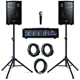 Alesis PA System in a Box Bundle, 280W Sound System mit 4-Kanal Mixer, 2 10 Zoll Passiv 2- Wege...