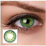 Farbige Kontaktlinsen 'cool green' 2x grüne Kontaktlinsen ohne Stärke + gratis Kontaktlinsenbehälter