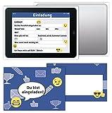 'Tablet' Einladungskarten Sets Kindergeburtstag / Geburtstagseinladungen Jungen Mädchen Kinder / Einladungen Smiley Emoji - von Sophies Kartenwelt (Mit Umschlägen)