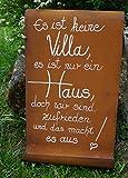 Edelrost Tafel mit Welle Spruch 'Villa' Eingang Gartendekoration