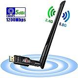 Auervo WLAN Stick, 1200Mbit/s WiFi Adapter, Dual Band 5.8GHz 866Mbps/2.4GHz 300Mbps USB WiFi Dongle mit 5dBi Antenne für Windows XP/ 7/8/ 8.1/10/ Vista, Mac OS X 10.4-10.12