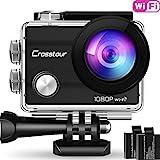 Action Kamera Wifi Cam 1080P Full HD Crosstour 2' LCD Sports Cam 170°Weitwinkel Helmkamera Unterwasserkamera mit 2 Batterien 1050mAh und Zubehör Kits …