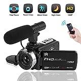 Videokamera mit Mikrofon Camcorder Full HD 1080P Nachtsicht 3.0 inch Touch Screen 16X Camcorder HD für Vlogging (2019 aktualisierte Version)