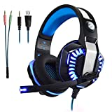 Gaming Headset Kopfhörer Gamer mit Mikrofon Micolindun für PC, PS4, Xbox one, Laptop, Tablet, Mac, Handy mit LED Extremer Komfort Bass Stereo Sound (inkl. Adapter)